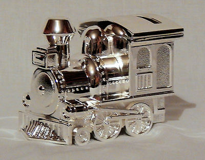 Silver Plated Train Money Box - Great Baby Boy/christening Gift