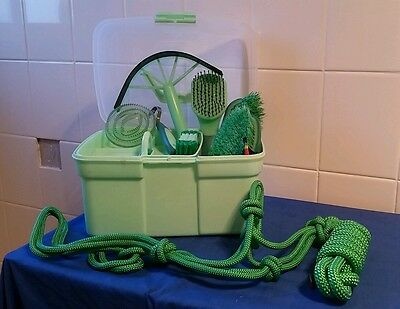 First horse grooming kit rope halter green pony combo