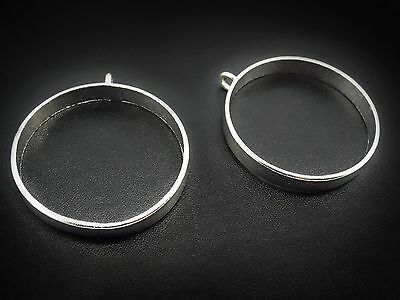 35mm Bright Silver Open Backed Bezel x 2 Pendant Setting Resin Cabochon Hollow