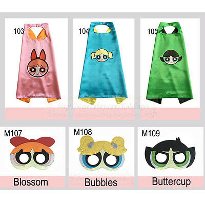 Powerpuff Girls capes and masks power girls Costume kids birthday party favor