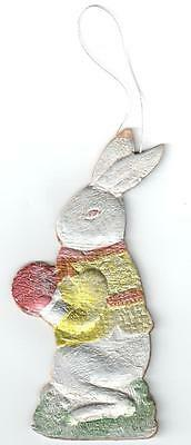 Rare Antique Hand-Painted/double Sided Dresden Flat Christmas Ornament Rabbit
