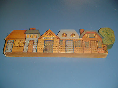 Wood Cribbage Board Welcome Sign Row of Houses/House
