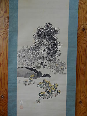 "Japanese hanging scroll Handpainted on Silk ""Spring ""  with Wooden box"