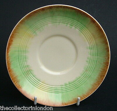 Vintage 1930's Woods Ivory Ware Stylized Pattern Tea Cup Saucers Only 14.5cm Dia