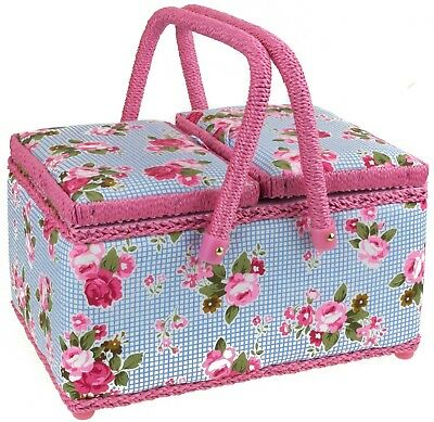 Twin Lidded Sewing Basket Box W/ Pink Handles & Blue Checked Floral Print Fabric