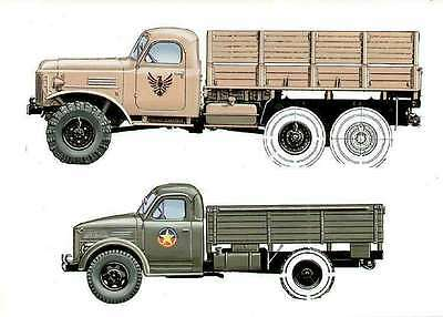 ZIL 157 & GAZ-51 Truck Russian Author's drawing illustrate book