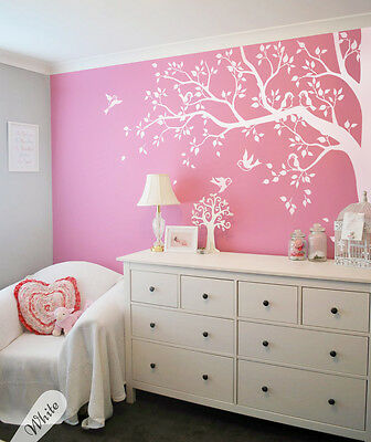 Unisex Nursery corner tree with birds, All white wall decals, Tattoo KW006ExMono