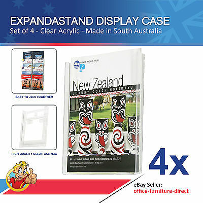 4x Wall Mounted Brochure Holder, A4 Brochure Holder,  Expandastand Flyer Display