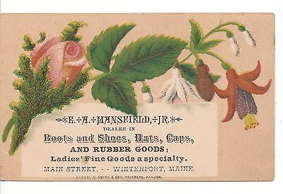 1890's E. A. Mansfield Boots &shoes Victorian Trade Card Winterport Maine