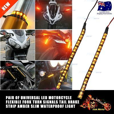 Motorcycle Led Indicator Flexible Strips Fork Harley Bobber Yamaha Honda Suzuki