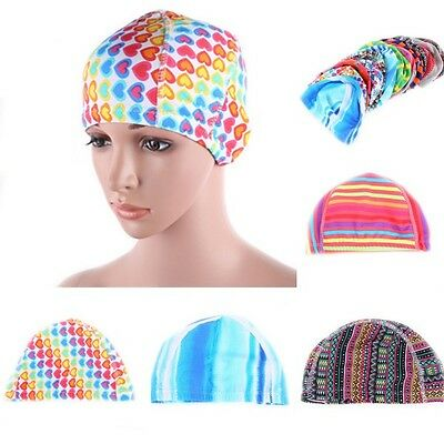 Hot Women Floral Waterproof Spandex Patterned Stretch Swimming Cap Bathing Hat