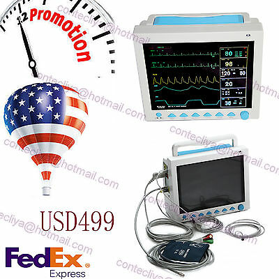 US seller ICU Patient Monitor 6 parameter Vital Signs ECG NIBP RESP TEMP SPO2 PR