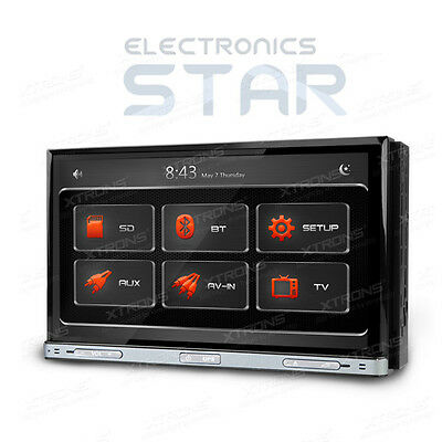 "XTRONS 7"" Double DIN In Car Radio Stereo DVD Player GPS Sat Nav Bluetooth iPod"