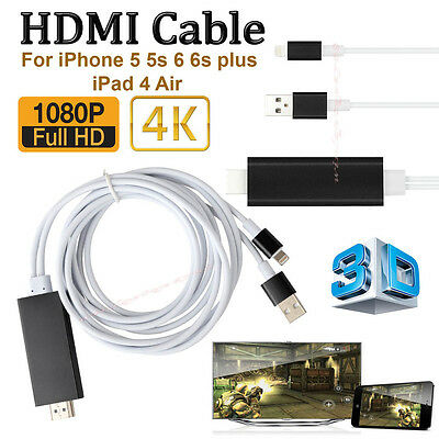 2M 8 Pin to HDMI HDTV AV Cable Adapter for iPhone 5 6 6 Plus iPad Mini 4 Black