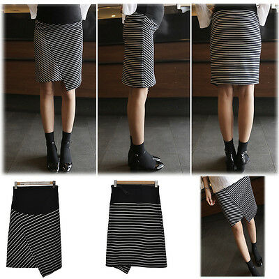 Asymmetrical Skirt Striped Overbumped A-Style Knee Length Slim Trendy 8 10 12