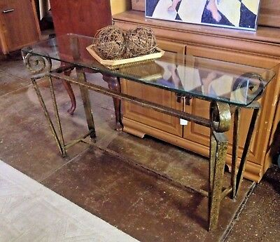 Beautiful Vintage Glass-Top Hand-Forged Wrought Iron Sofa Table, Excellent Cond.
