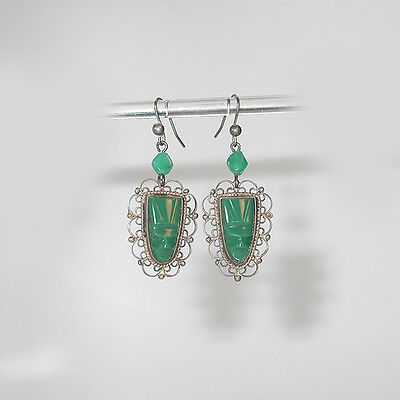 ~VINTAGE 1940's MEXICO SILVER JADE GLASS MASKS DROP EARRINGS!~~SIGNED! HOOKS!