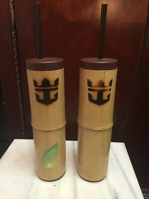 Royal Caribbean RCCL Cruise Souvenir Mug Cup Bamboo Water Bottle Set Of 2 NEW