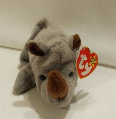 "Ty SPIKE Gray Rhino Rhinoceros (7"") Beanie Baby 1997 Boys Girls 3+ MWMT"