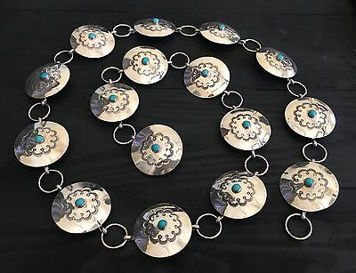 """stamped"" Heavy (141.5 G) Navajo 36"" Sleeping Beauty & Sterling Concho Belt"