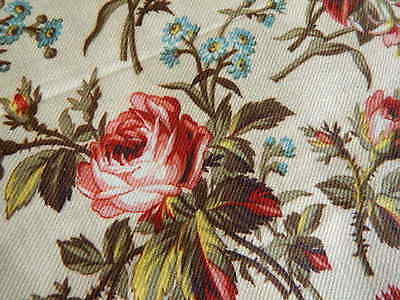 "Antique Fabric w Roses & Blue Forget Me Nots Unused 26.25"" Width x 3+ Yards"