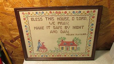 "Vintage Cross Stitch Saying ""Bless This House"""