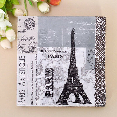 20pcs 33*33cm Gray Tower Pattern Paper Napkins,100% Virgin Wood Napkin