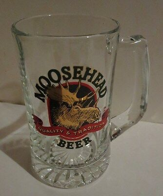 "Moosehead Lager Beer Handled Glass Stein 5.5"" Gold Red & Green Logo"