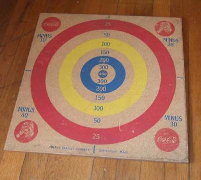 1940s Coca-Cola two sided wooden game board~darts/baseball~Milton Bradley
