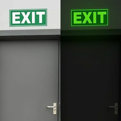 Glow in the Dark Exit Sign Photoluminiscent Glow Sign
