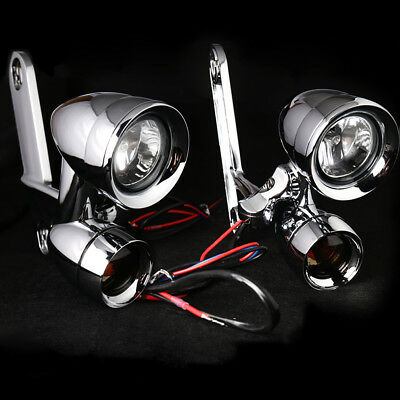 Fairing Mounted Driving Lights with Turn Signals For Harley Touring Street 97-13