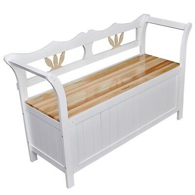 #bNEW WOODEN STORAGE BENCH WHITE BENCH SEAT WOODEN SEAT HOME CHAIR WITH ARMRESTS