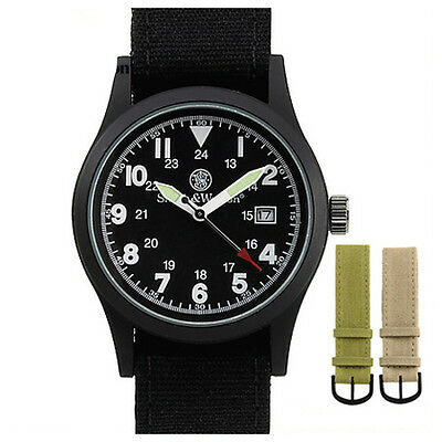 Smith and Wesson Uhr Tactical Military Watch 30m wasserdicht Datum 3 Armbänder