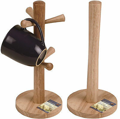 Traditional Wooden Kitchen Roll Holder and/or 6 Cup Mug Tree Holder Stand Set