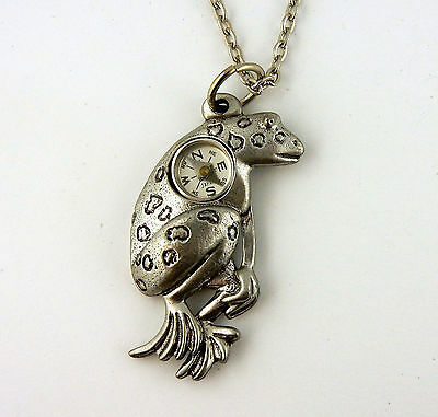 "Pewter toad Frog Compass pendant with 20"" chain"