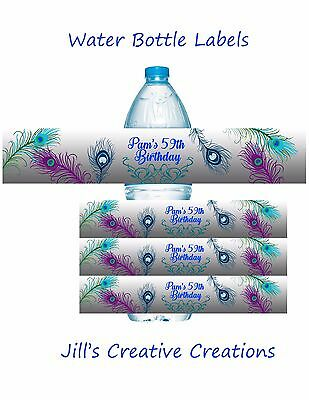 Peacock Water Bottle Labels, Water Bottle Labels, Peacock, Party Supplies