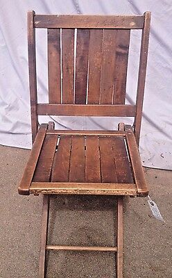 Antique Classic All-Wood Slatted Back & Seat Sturdy Construction Folding Chair