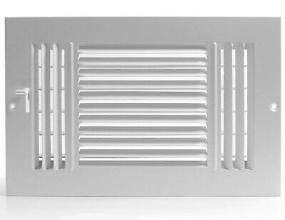 "12w"" x 6h"" Fixed Stamp 3-Way AIR SUPPLY DIFFUSER, HVAC Duct Cover Grille White"