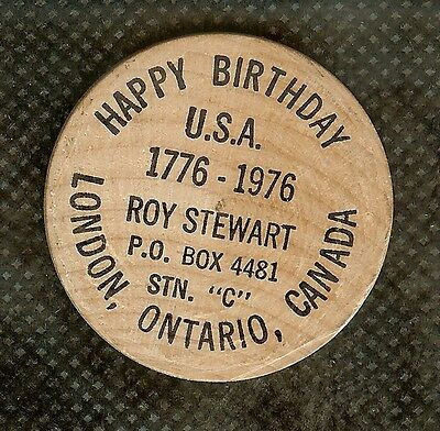 Vintage Wooden Nickel London Ontario Canada Usa Bicentennial Tribute 1776-1976