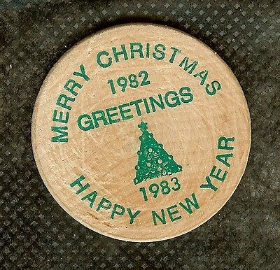 Vintage Wooden Nickel Moose Jaw Saskatchewan Canada 1982 Christmas & New Year #3