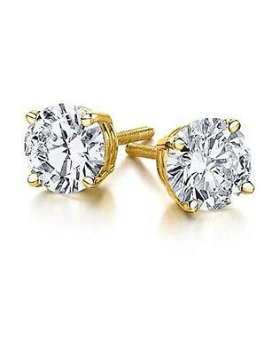 1/2ct Diamond Stud Earrings set in 14K Yellow Gold Push Back