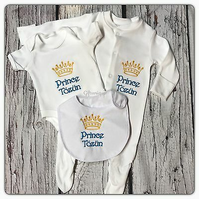 PERSONALISED Baby Sleepsuit Bodysuit Bib GIFT Set Prince Princess NAME Gro Vest