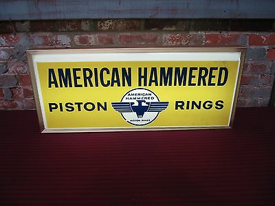 Original Vintage American Hammered Piston Rings Double Sided Lighted Sign
