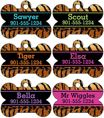 Tiger Animal Print Pet Id Tag For Dogs Cats Personalized W Name Number