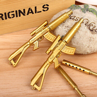 New Creative Novelty Gold Rifle Shape Design Black Ink Ballpoint Pen Stationery