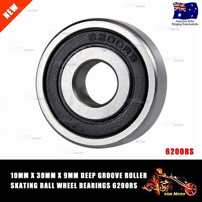 9mm x 30mm x 10mm Deep Groove Roller-Skating Ball Wheel Bearings 6200RS DIRT