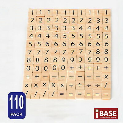 110x Number Wooden  Tiles Scrabble Scrapbooking Handcraft Letter set Formular