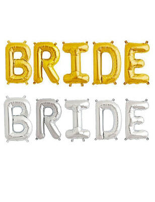 "16"" 40 Silver Gold Letter Mylar Balloons Bride To Be Wedding Bridal Shower Party"