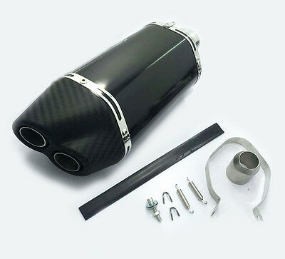 51mm Motorcycle Imitation Carbon Fiber Tip Double Exhaust Muffler Pipe Slip on