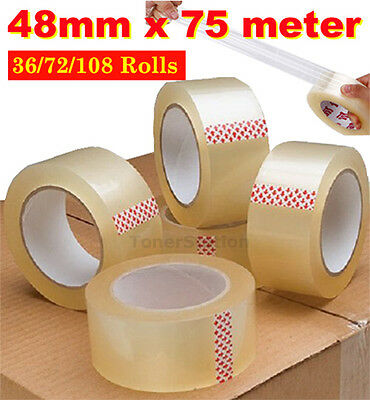 36 - 108 Roll Clear Packing Box Carton Packaging Sticky Tape 75 Meter x 48mm